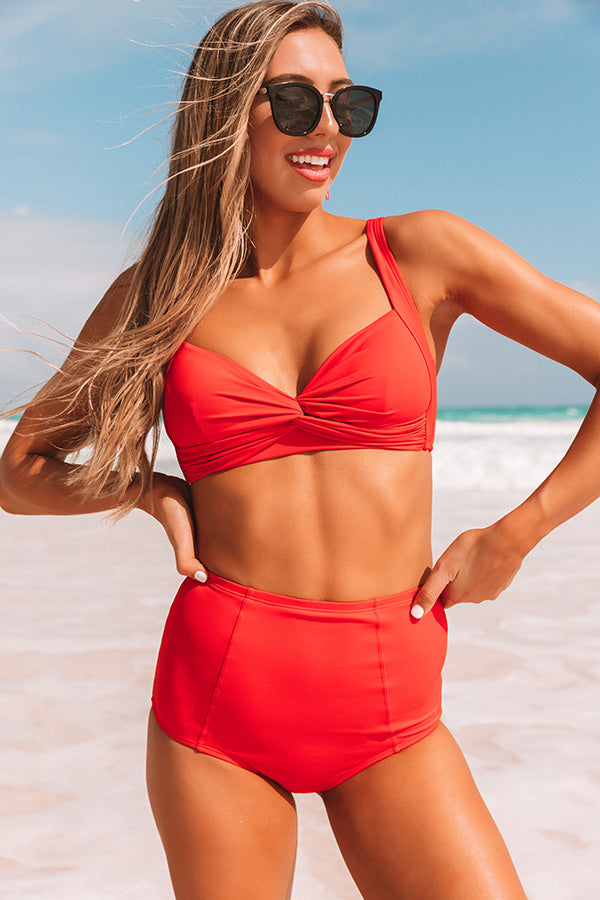 Tanning In Tulum High Waist Bikini Bottom in Red