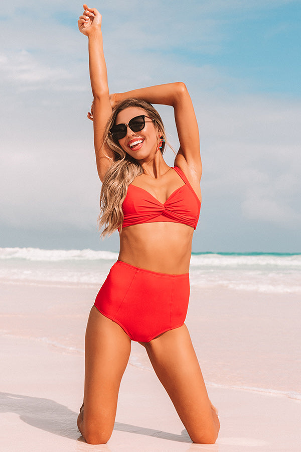 Tanning In Tulum Twist Front Bikini Top in Red