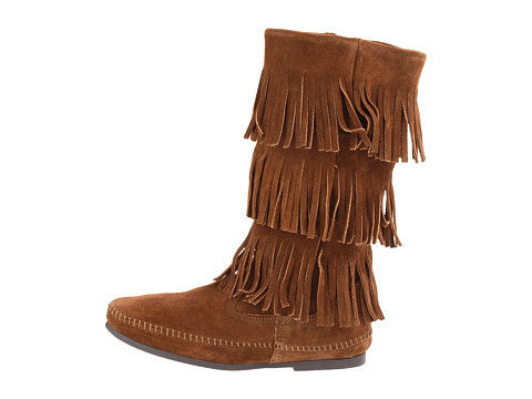 Calf Hi 3-Layer Fringe Boot in Dusty Brown