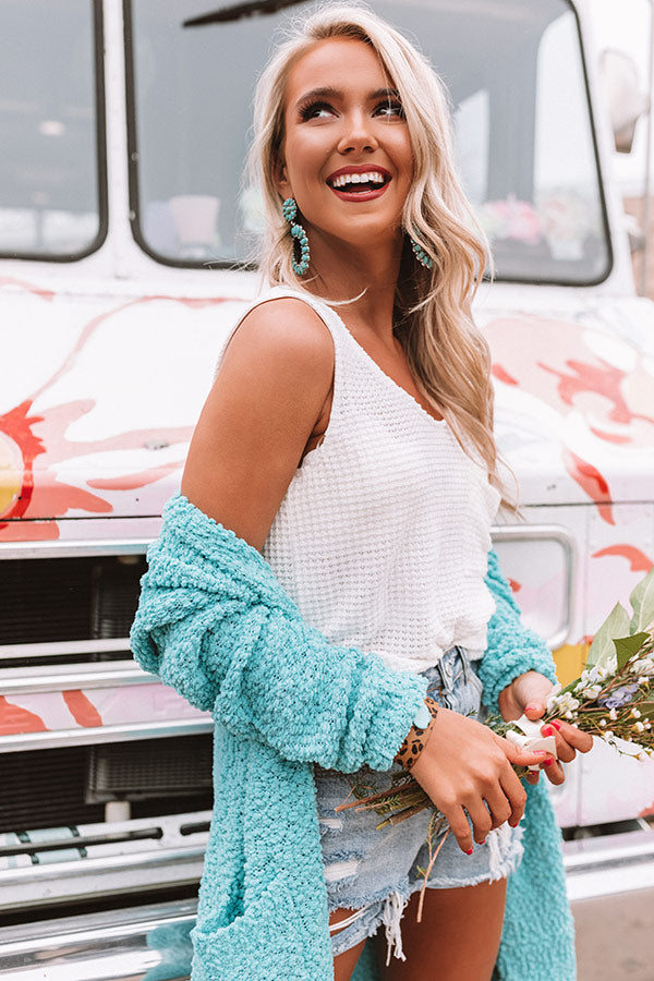Shoreline Smiles Waffle Knit Tank In White
