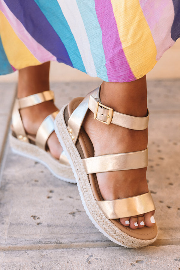 The Lela Espadrille In Gold
