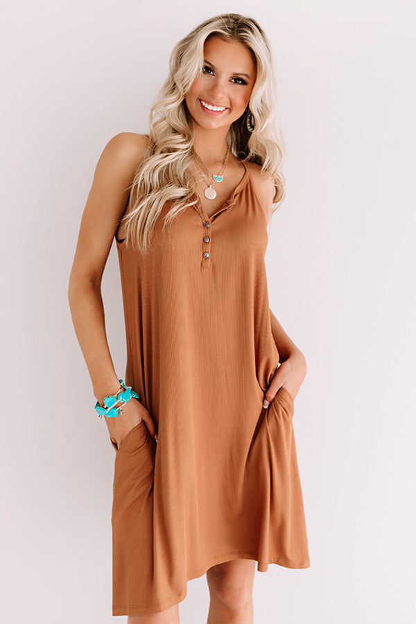 Sunset Blvd Dreams Henley Shift Dress in Camel