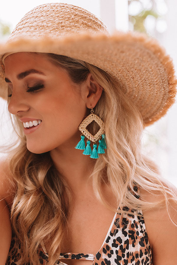 Bahama Sunrise Tassel Earrings In Turquoise