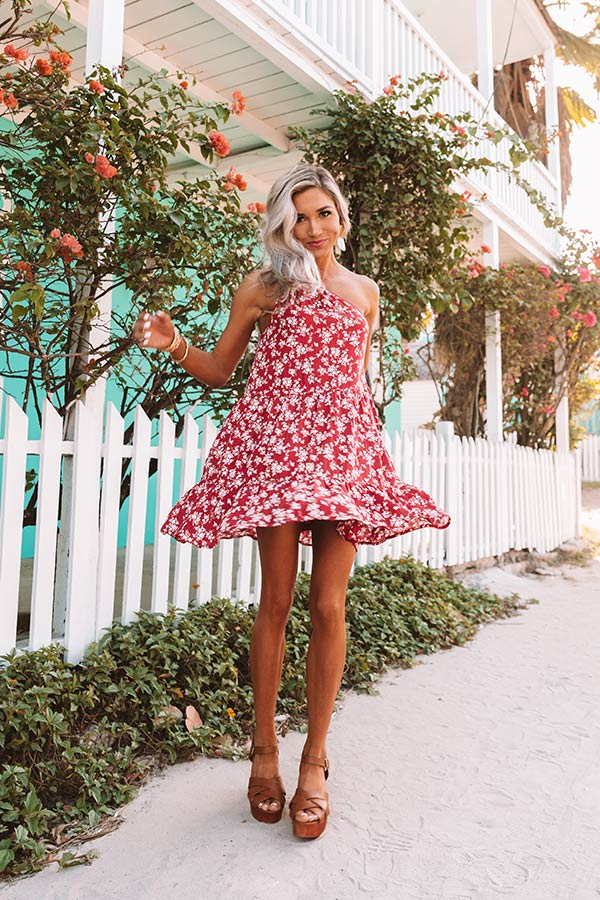Jetting To Paradise Floral Dress in Red