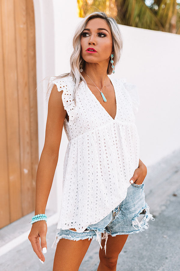 Matter Of Fact Eyelet Babydoll Top In White