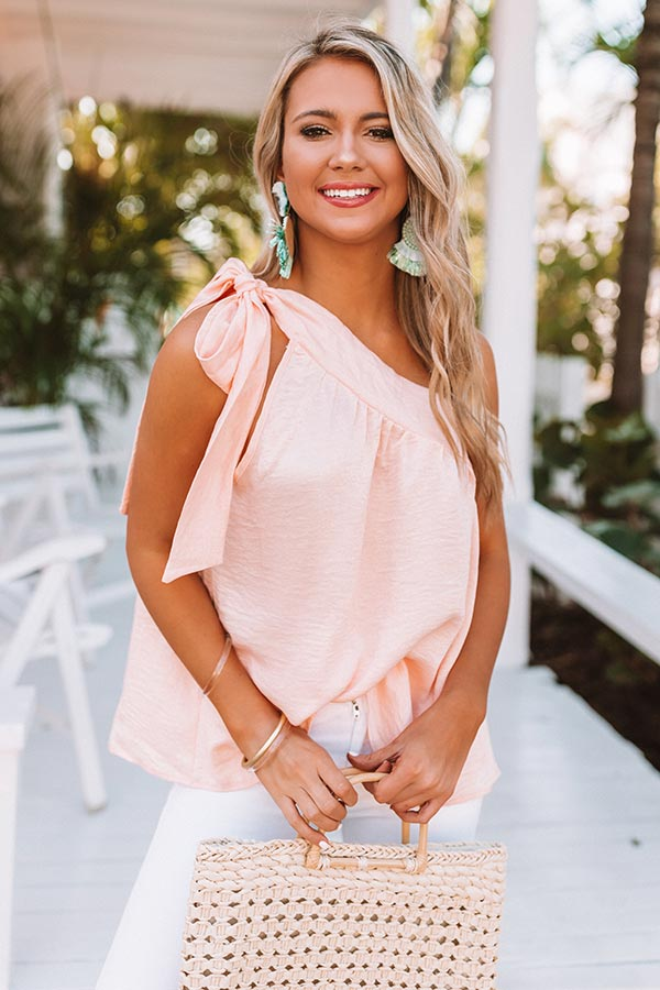 Excellent Evening One Shoulder Shift Top in Peach