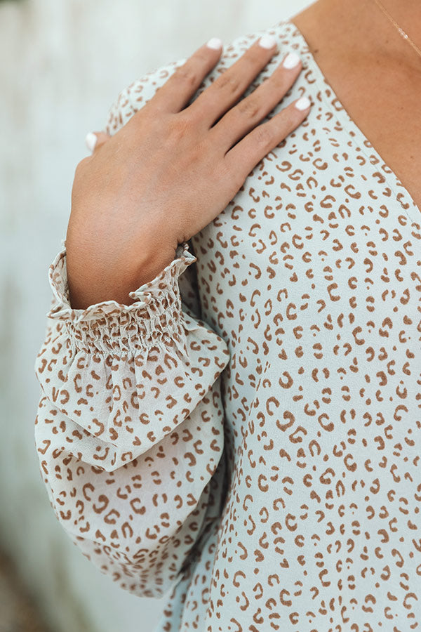 Villa Vacay Leopard Shift Top In Pear