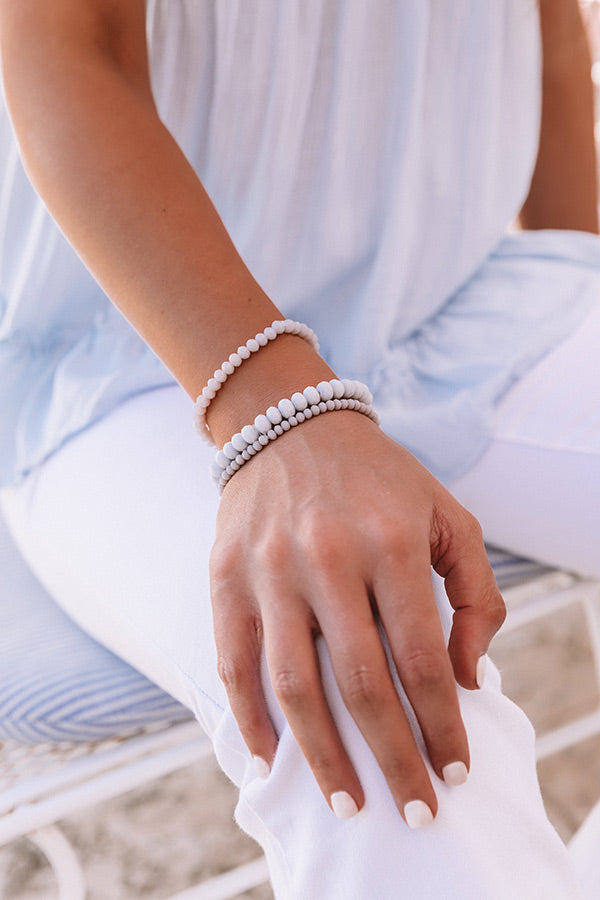Pure Perfection Semi Precious Bracelet Set In Light Grey