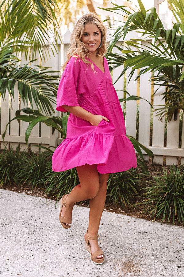 Santorini Swooning Babydoll Dress In Hot Pink