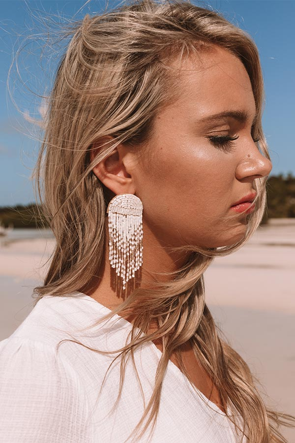 Paradise Passion Beaded Earrings In White