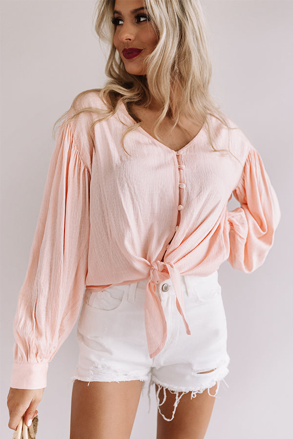 Chic Sentiments Front Tie Top in Peach