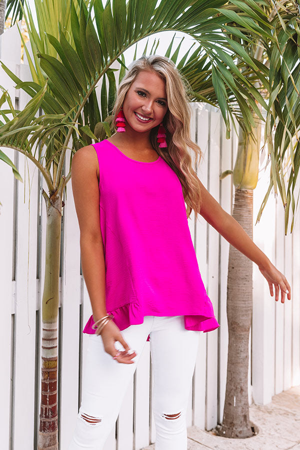 Talk of Tulum Shift Top in Hot Pink