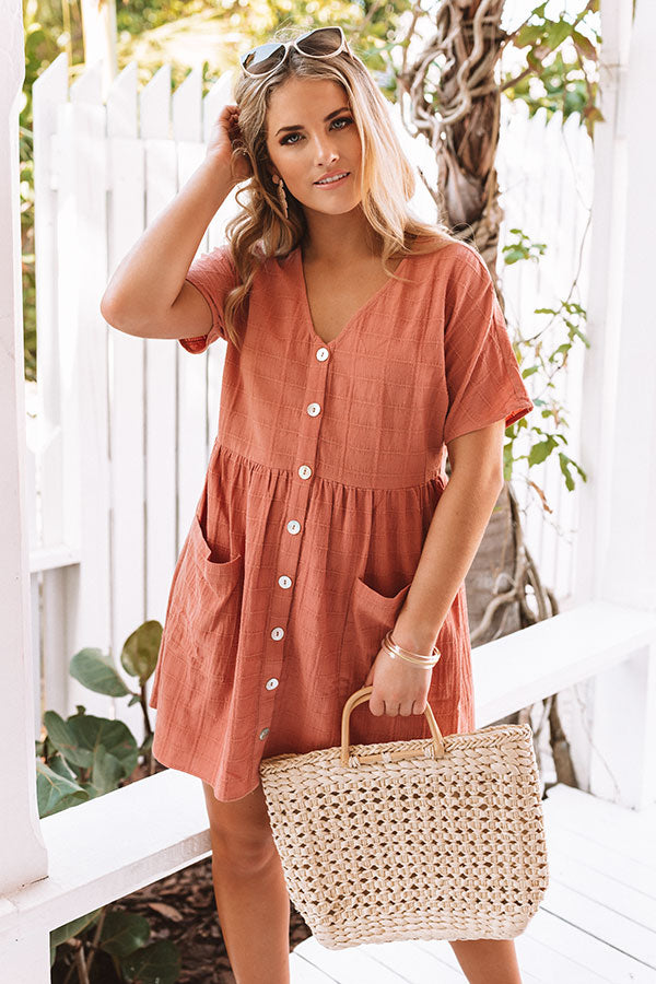Grayton Beach Babydoll Tunic Dress in Dark Peach