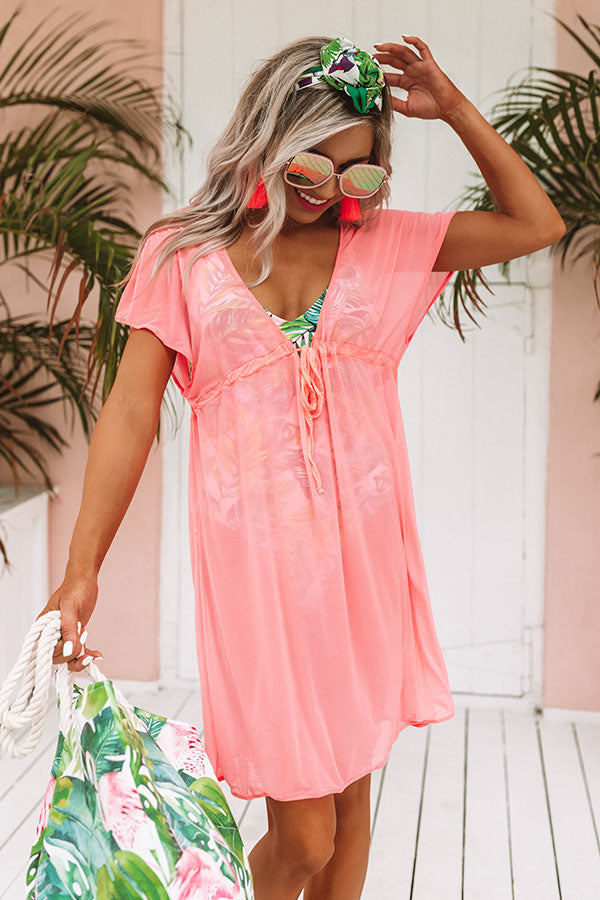 Poolside Preferred Mesh Cover Up in Neon Pink