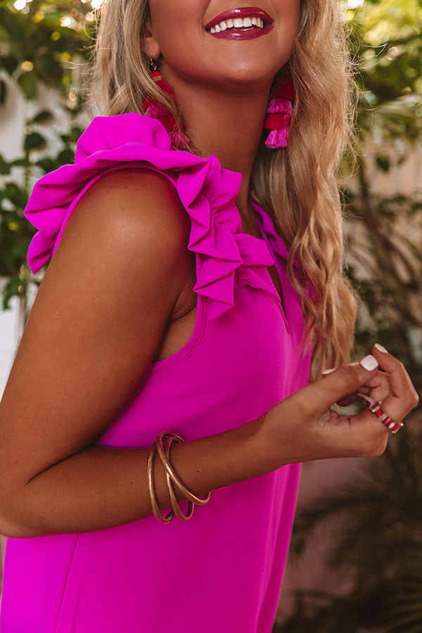 Song And Dance Ruffle Shift Dress in Hot Pink