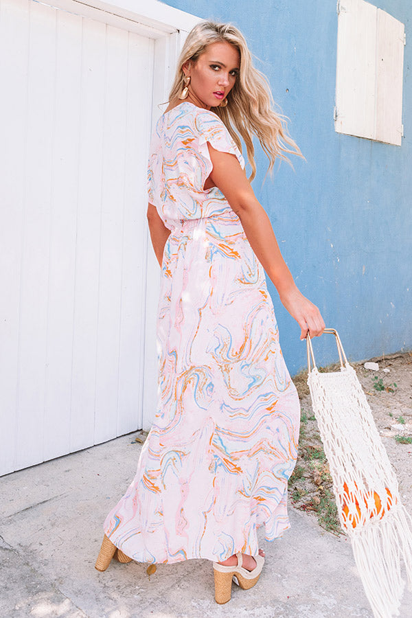 Private Yacht Maxi Dress in Pink Marble