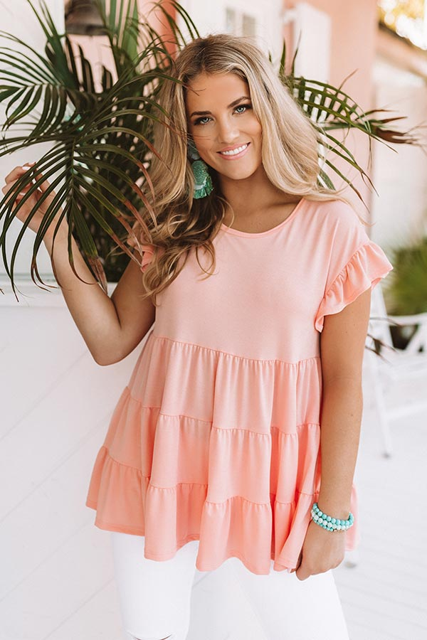 Boardwalk Brunch Babydoll Tunic Top in Peach