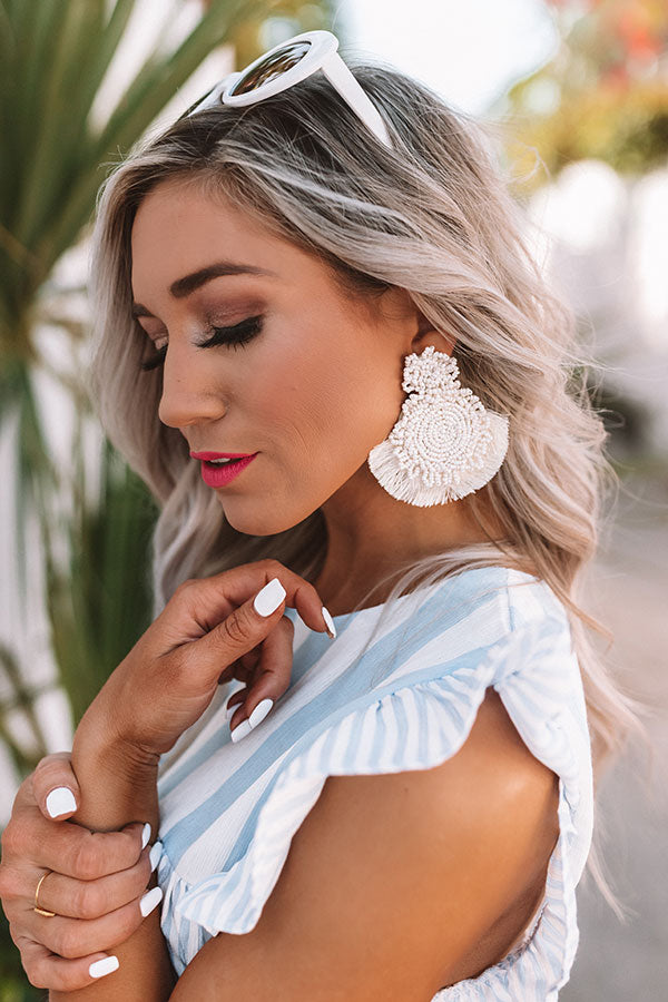 Coastal Crushing Beaded Earrings In Ivory