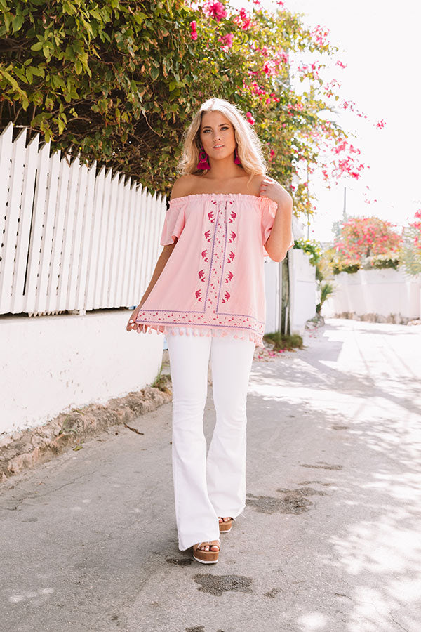 Season Of Sunshine Embroidered Off Shoulder Top