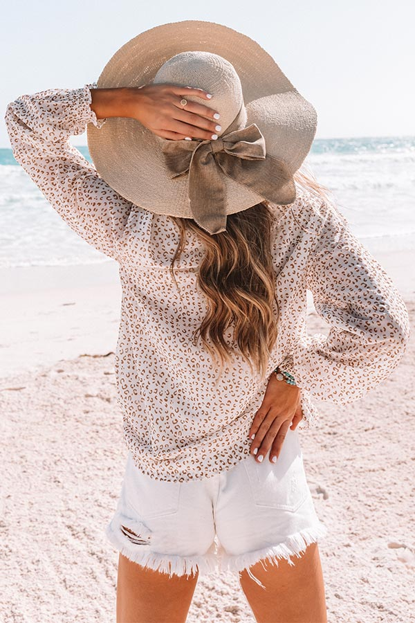 Villa Vacay Leopard Shift Top In Ivory