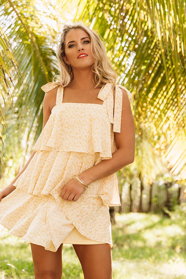 Florally Inclined Tiered Shift Dress in Primrose Yellow