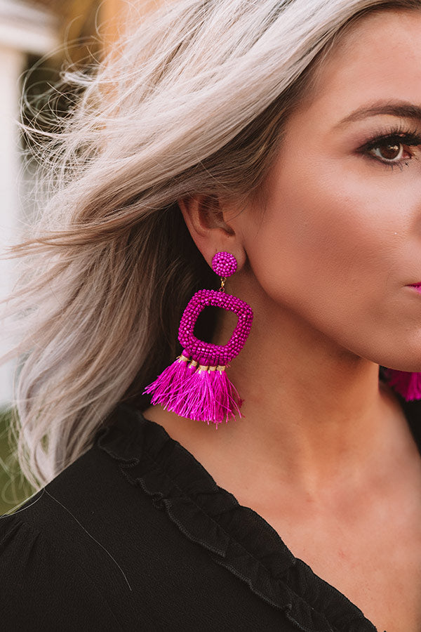 Tans And Tikis Beaded Earrings In Fuchsia