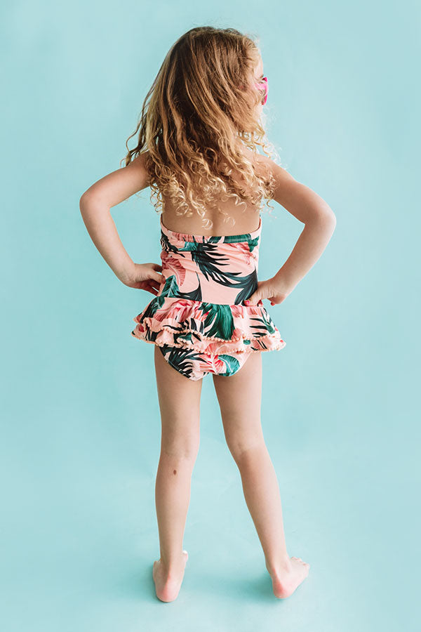 Palms Away One Piece Children's Ruffle Swimsuit