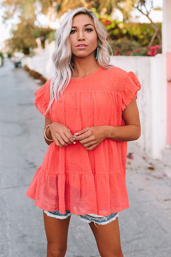 My Sweet Side Shift Top In Coral