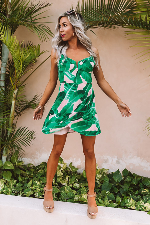 Melrose Crush Dress in Palm Leaf Green