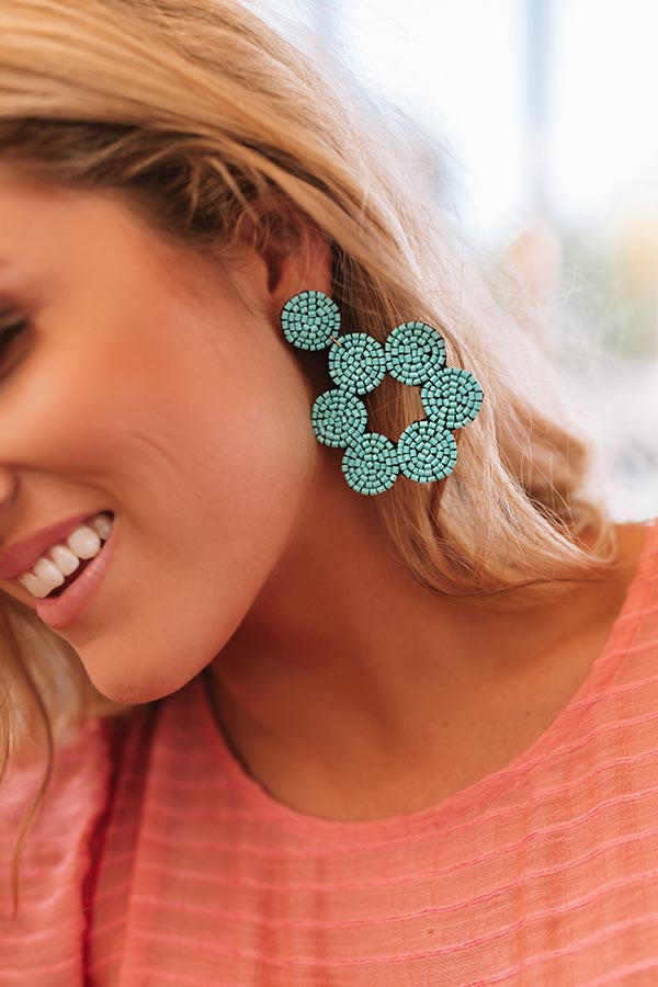 Vacay Views Beaded Earrings In Turquoise