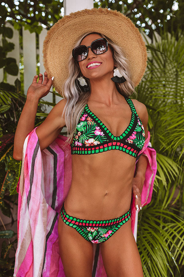 Tropical Vibes Crochet Trim Bikini Top In Black