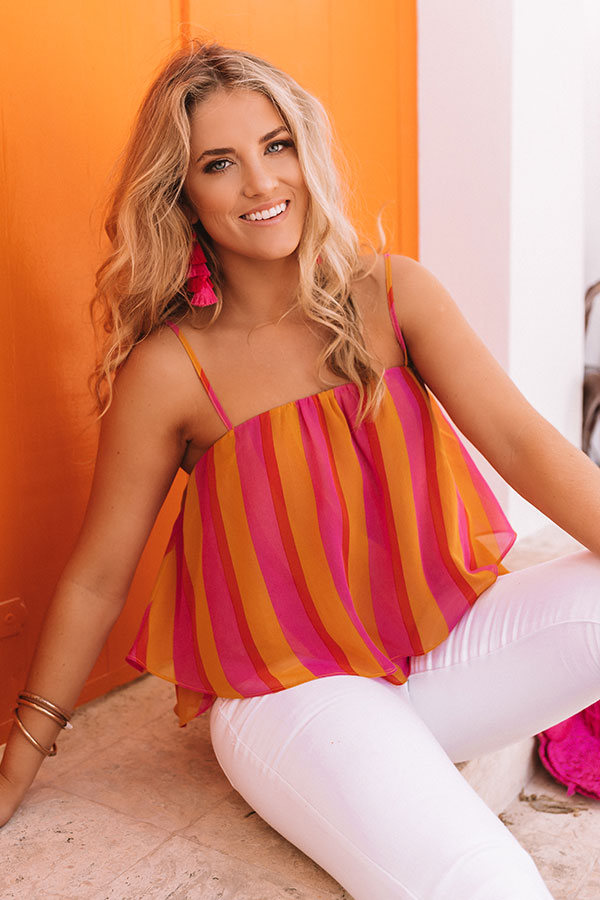 Tan Lines in Tulum Layered Tank in Hot Pink