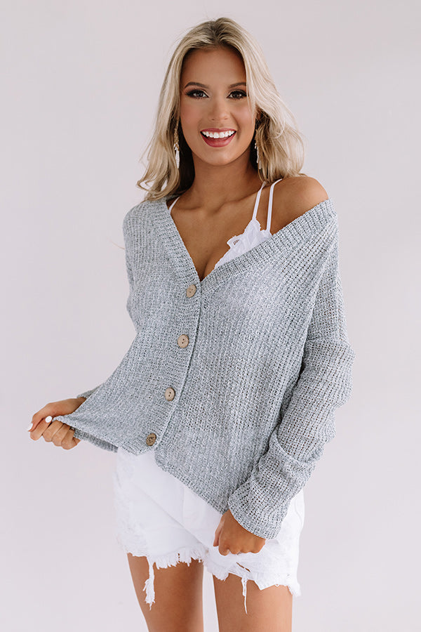 Beachy Breeze Knit Top in Grey