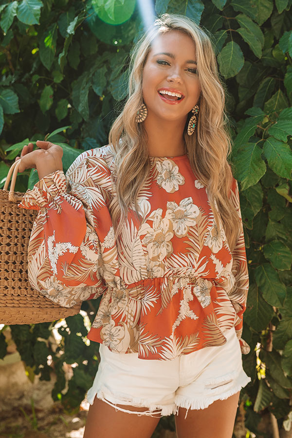 Bahama State Of Mind Floral Top in Coral