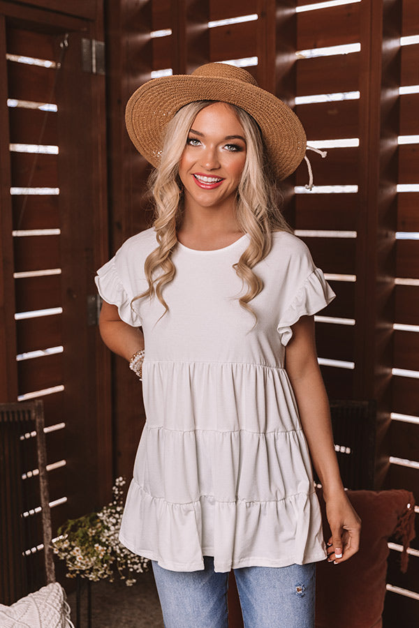 Boardwalk Brunch Babydoll Tunic Top in White