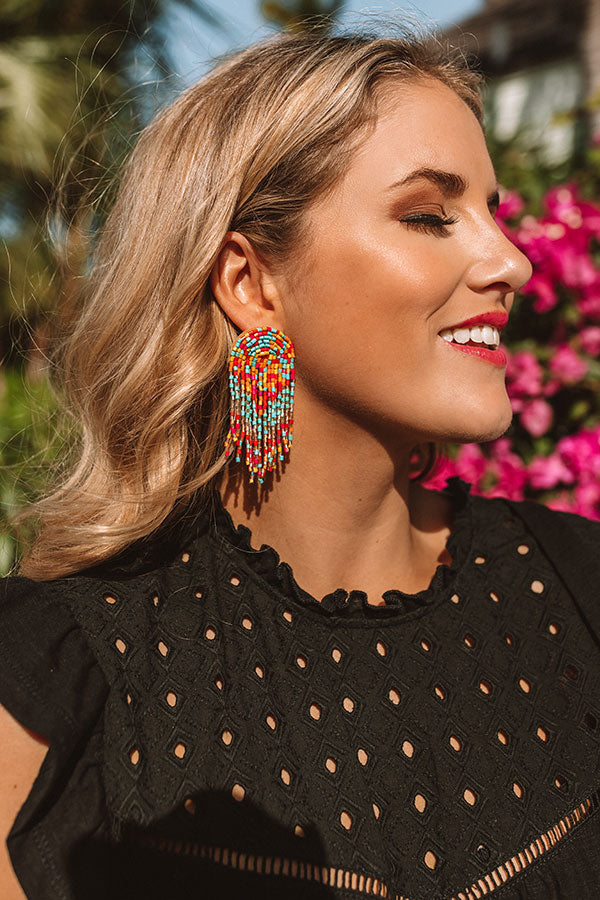 Paradise Passion Beaded Earrings In Multi