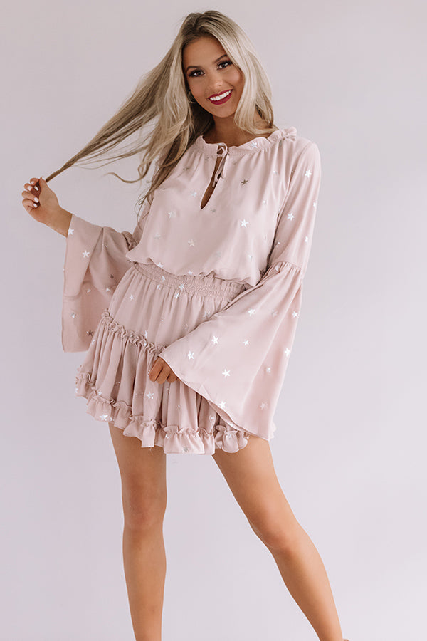 Star Of The Show Ruffle Dress in Rose Quartz