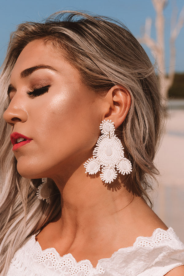 Coral Reef Beaded Earrings In White