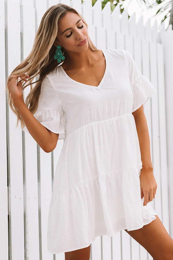 Bahama Brunch Babydoll Dress in White