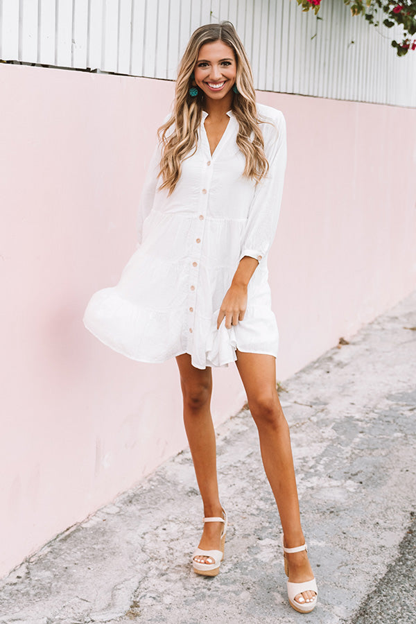 New Beginnings Shift Dress In White