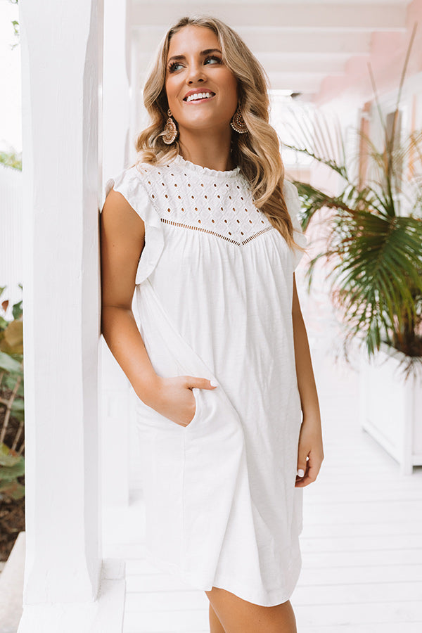 Balcony Views Eyelet Shift Dress in White
