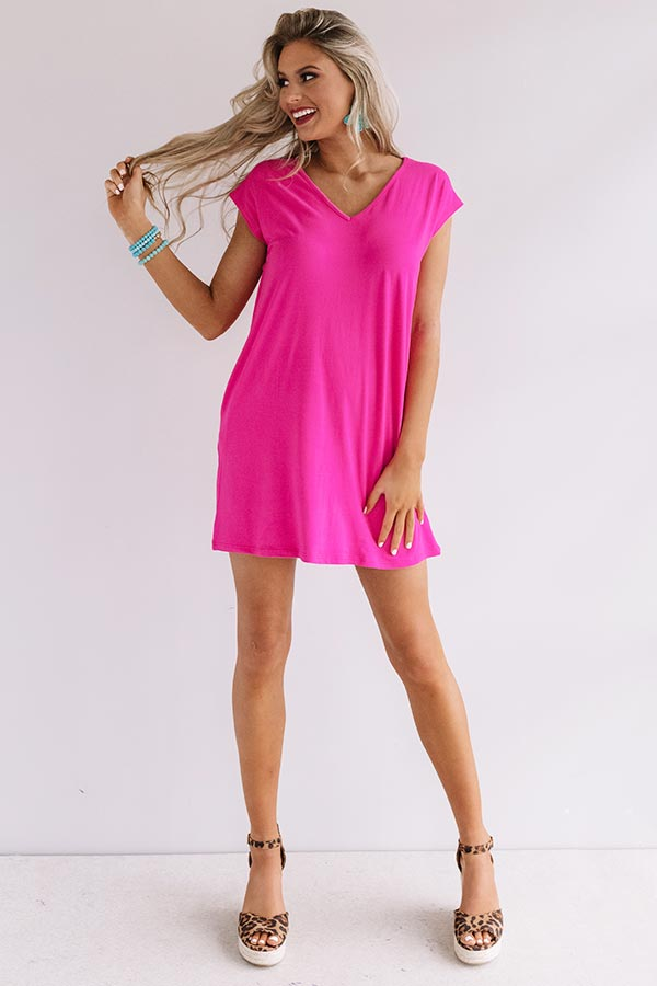 Break Away T-Shirt Dress in Hot Pink