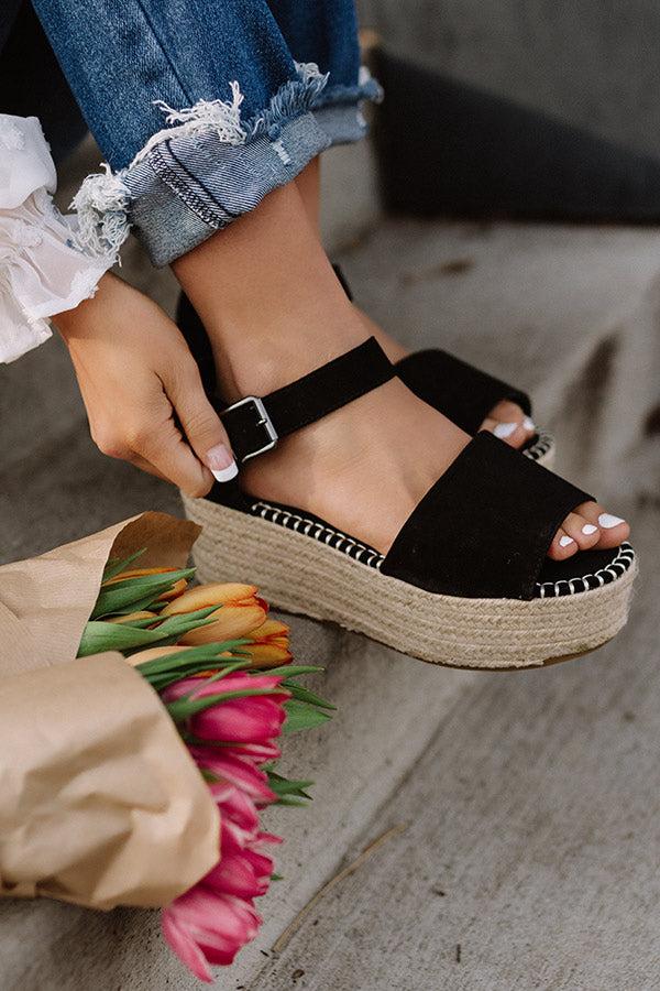 The Brighton Beach Espadrille In Black