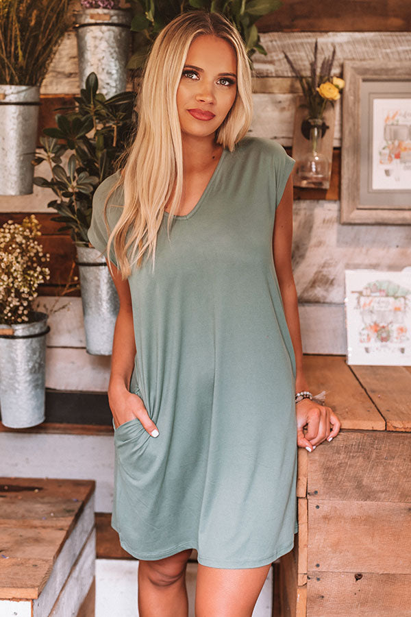 Break Away T-Shirt Dress in Pear