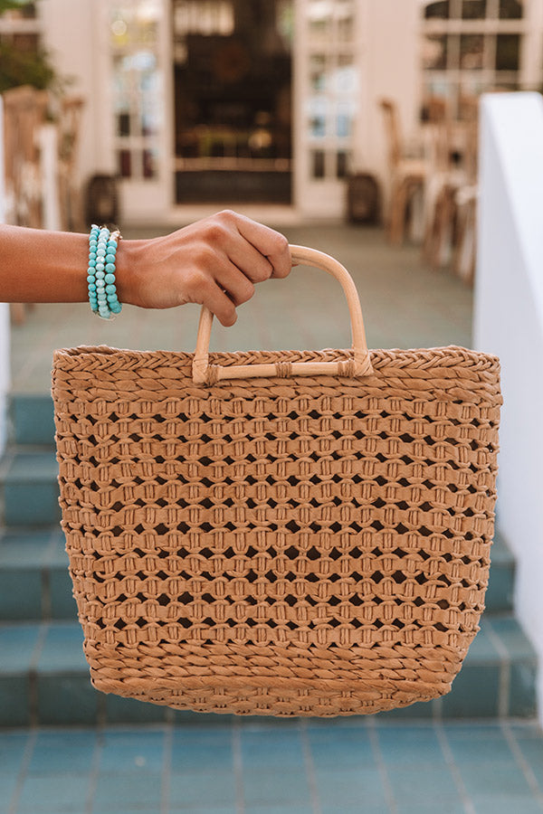 Blissful Bay Woven Tote Bag In Tan