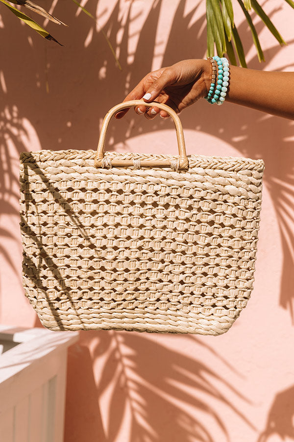 Blissful Bay Woven Tote In Ivory