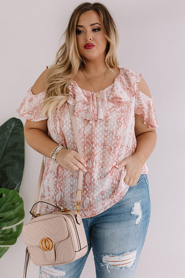 Brunch And Bubbles Snake Print Ruffle Top