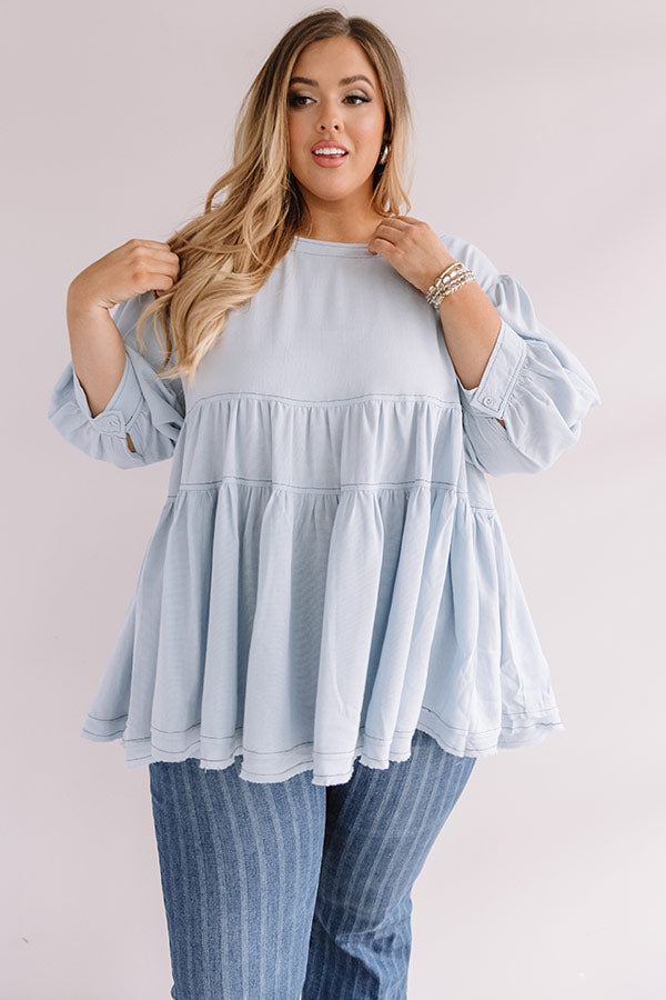 Everlasting Happiness Babydoll Top In Sky Blue