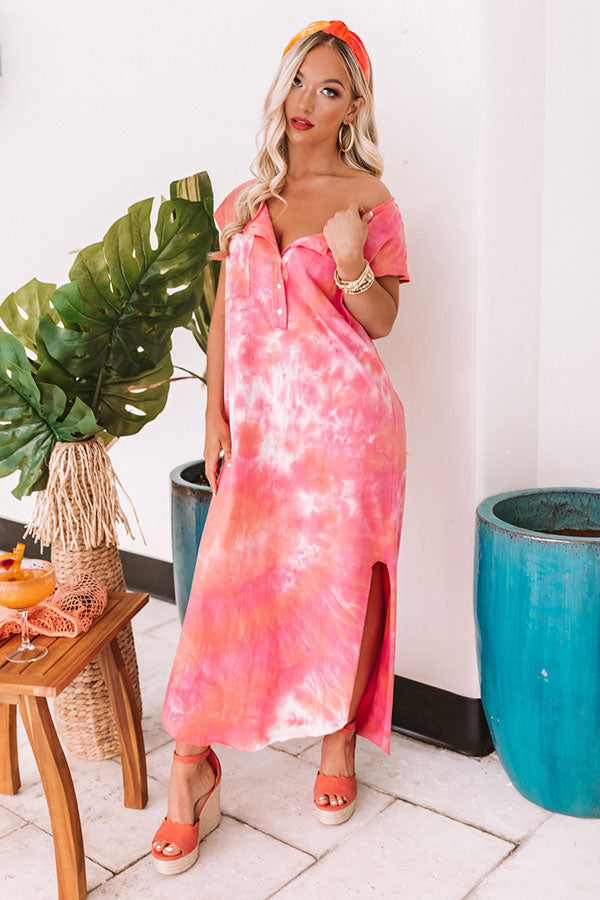 Bayside Sunset Tie Dye Maxi In Pink