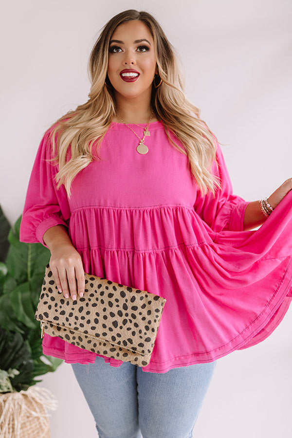 Everlasting Happiness Babydoll Top In Hot Pink